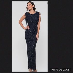Adrianna-Papell NAVY long beaded Gown 💫💃